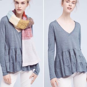 Anthropologie Deletta Peplum Long Sleeve Top